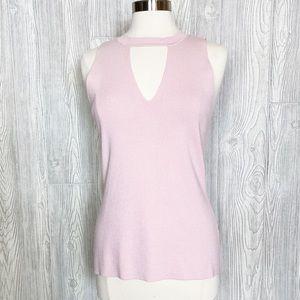 Blush Pink Knit Sleeveless Cut Neck Top